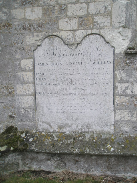 Inscription on the east wall of St James's, East Tisted