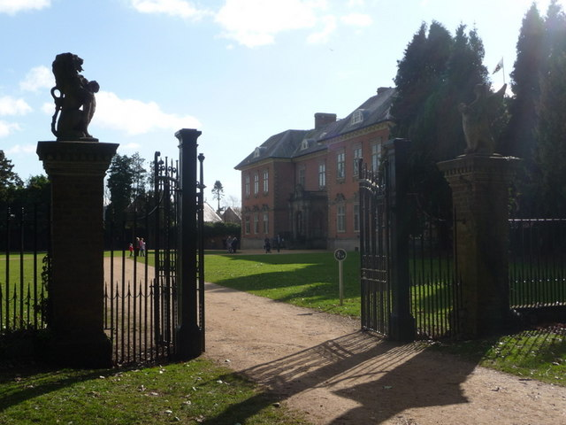 Newport: lion gatepost at Tredegar House