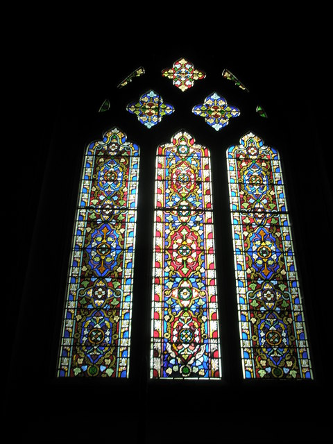 Stained glass window on the west wall at St James's, East Tisted