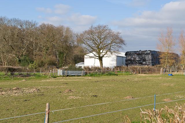 Barn and bales at Hall Lands Farm, Fair Oak