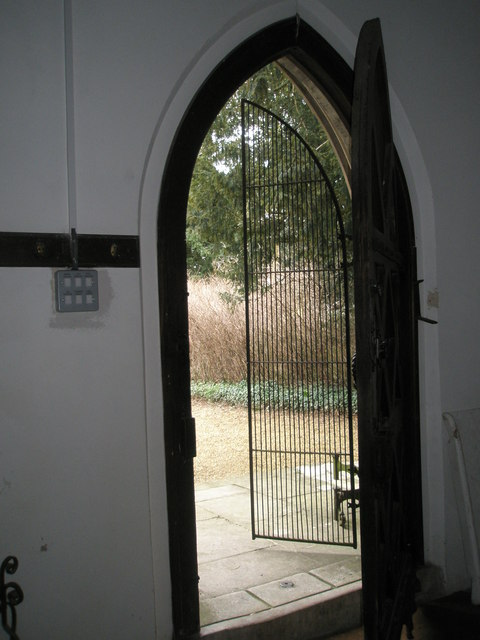 View out of the north door at St James's, East Tisted