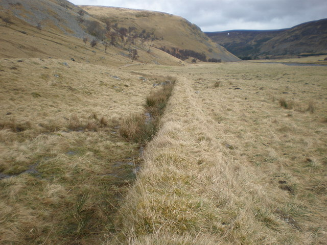 Grass covered Wall running along Edge of Road