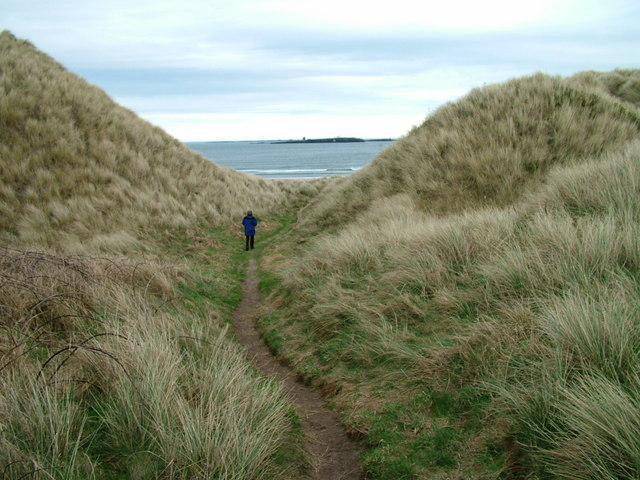 Through the dunes to Bamburgh Beach