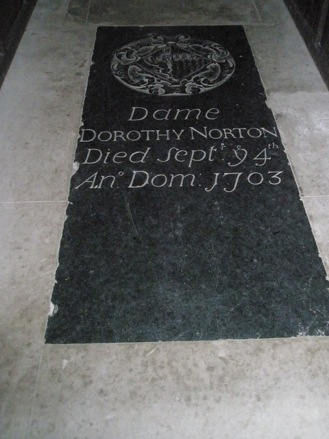Floor memorial to a Dame within St James's, East Tisted
