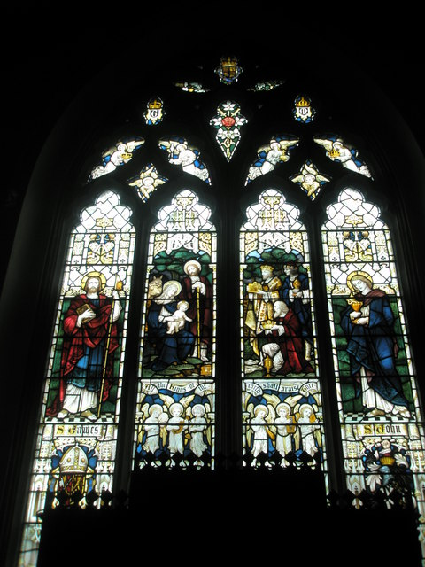 Stained glass windows above the altar at St James's, East Tisted