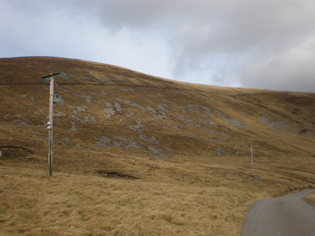 Power Lines Going to Coignafearn, Track crossing Hillside