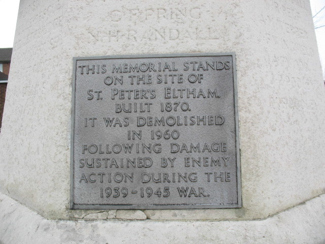 Plaque on St Peter's war memorial, Lee