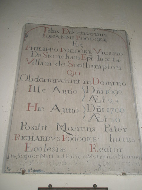 Latin memorial within St Peter ad Vincula, Colemore