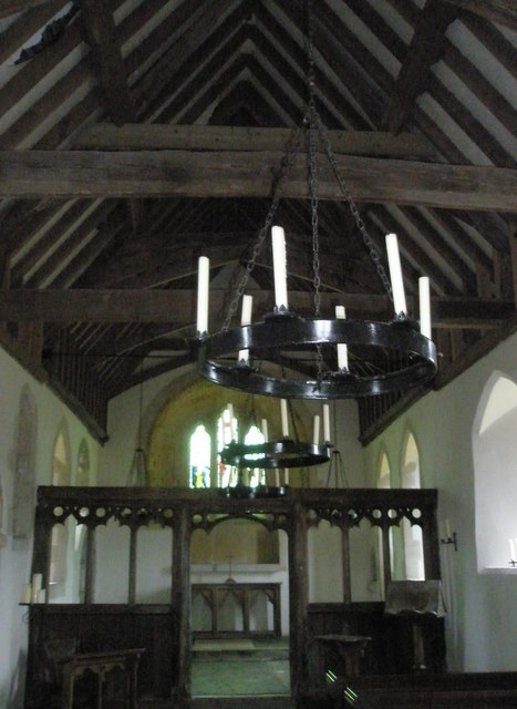 Candle holders suspended from the ceiling of St Peter ad Vincula, Colemore