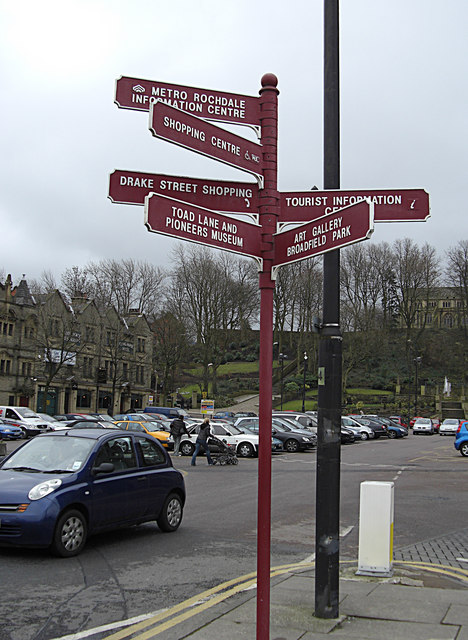Signposts outside Rochdale Town Hall