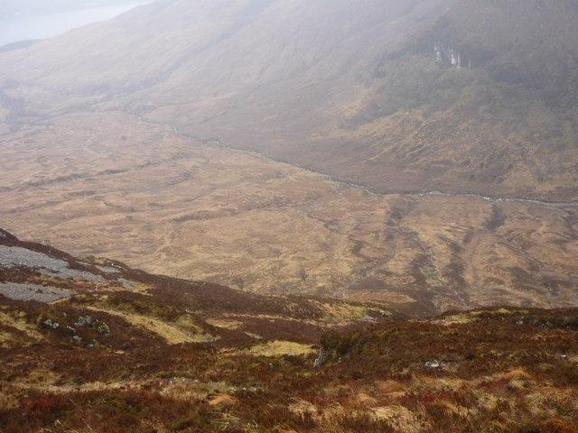 View into Gleann Sron a'Chreagain