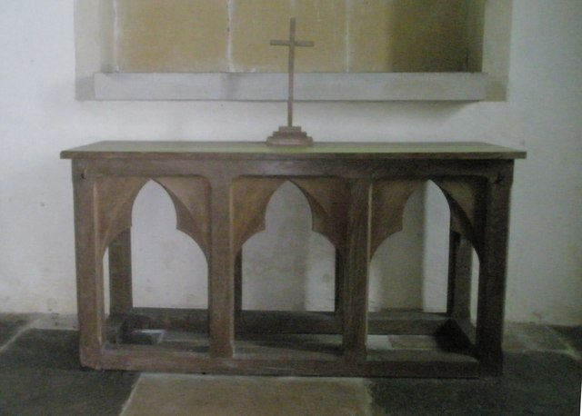 Simple altar within St Peter ad Vincula, Colemore
