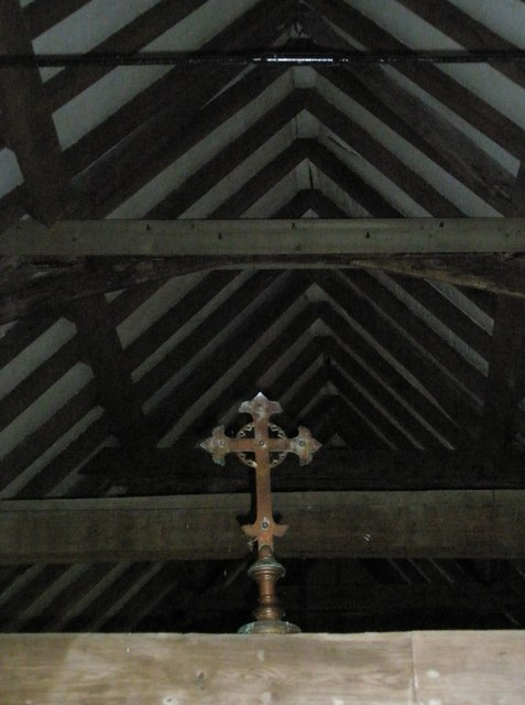 Cross high up in the roof at St Peter ad Vincula, Colemore
