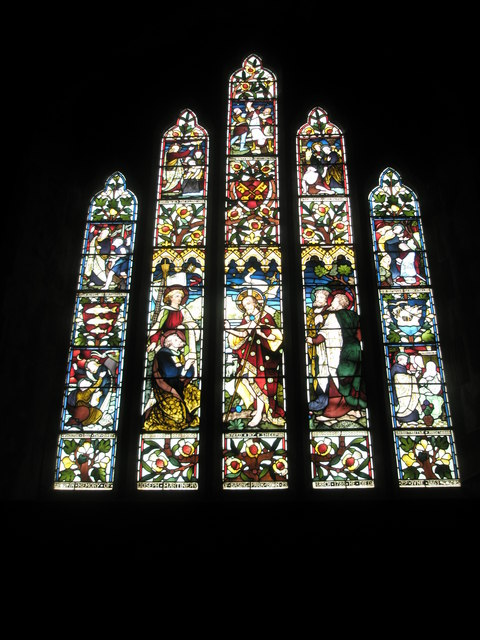 Stained glass window on the west wall at St Peter's, High Cross