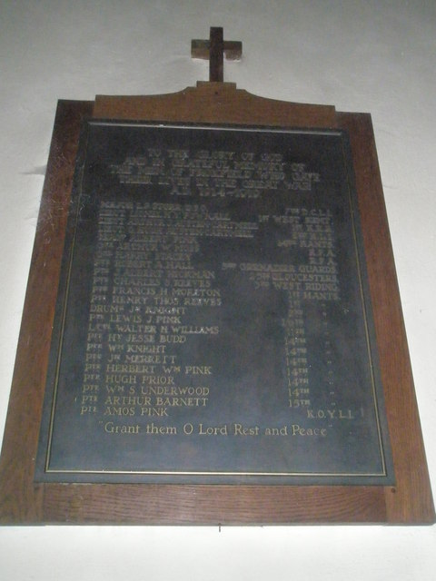 Great War Memorial within St Peter's, High Cross