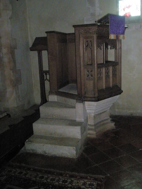 The pulpit at St Peter's, High Cross