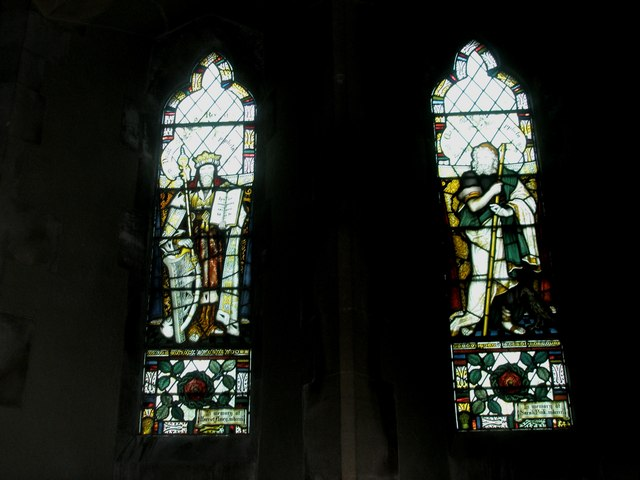 Superb stained glass windows on the north wall at St Peter's, High Cross