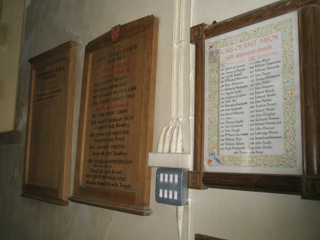 Incumbency boards within St Peter's, High Cross
