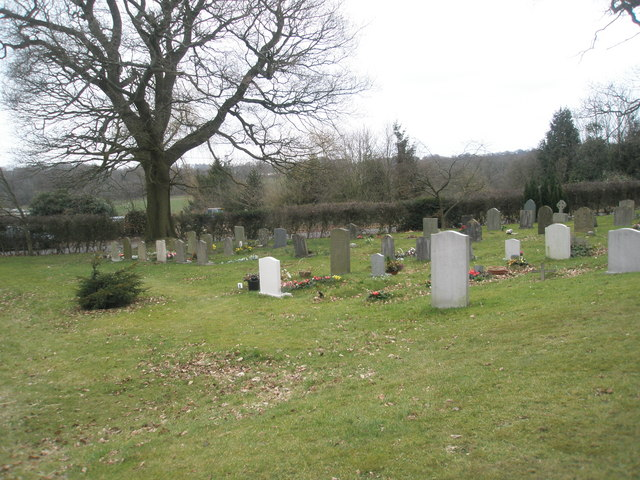Gravestones in the churchyard of  St Peter's, High Cross