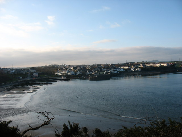 View across Traeth Mawr towards the village of Cemaes