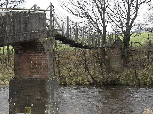Suspension bridge over the River Hodder