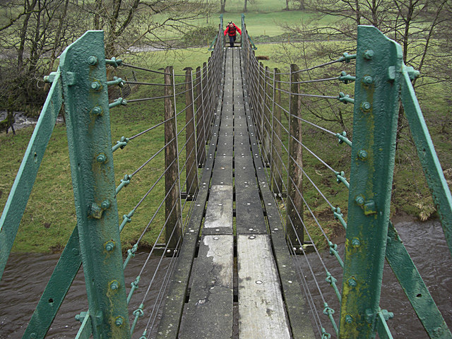 Suspension bridge across the Hodder