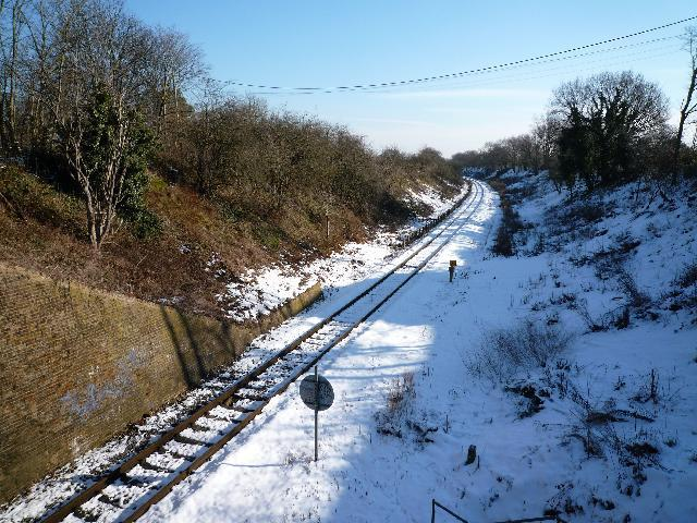 The Brentford Branch Line - looking eastwards from The Three Bridges