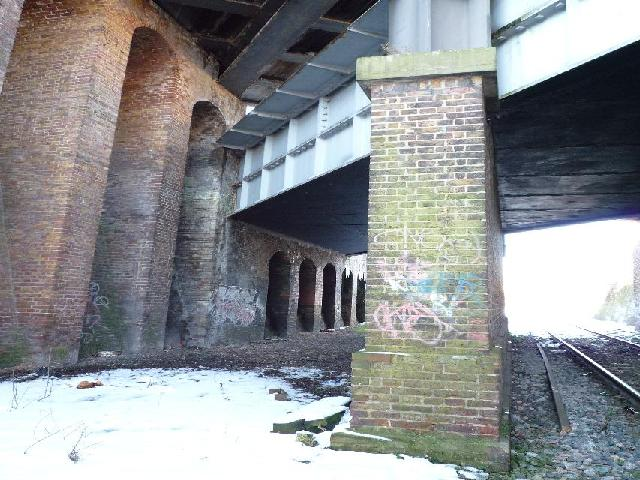 The Three Bridges - showing the central brick pier support for the canal trough