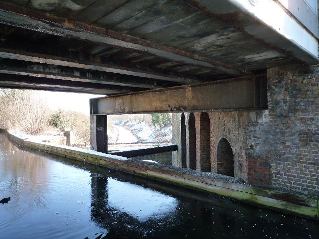 The Three Bridges - showing the underside of the road bridge
