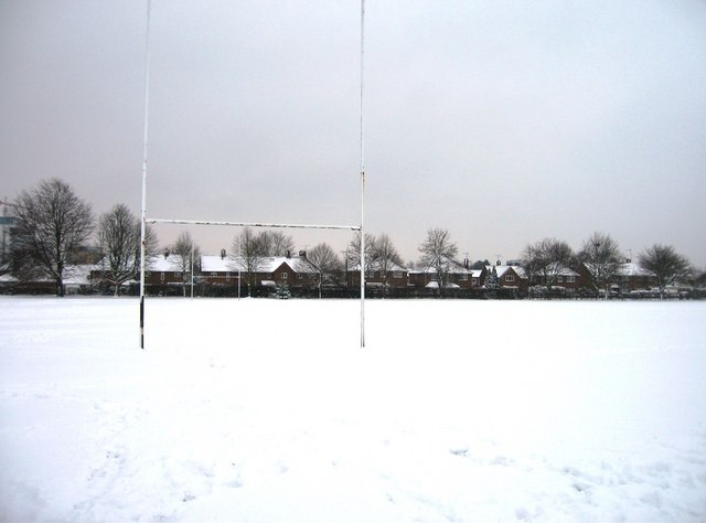 Snow covered rugby field