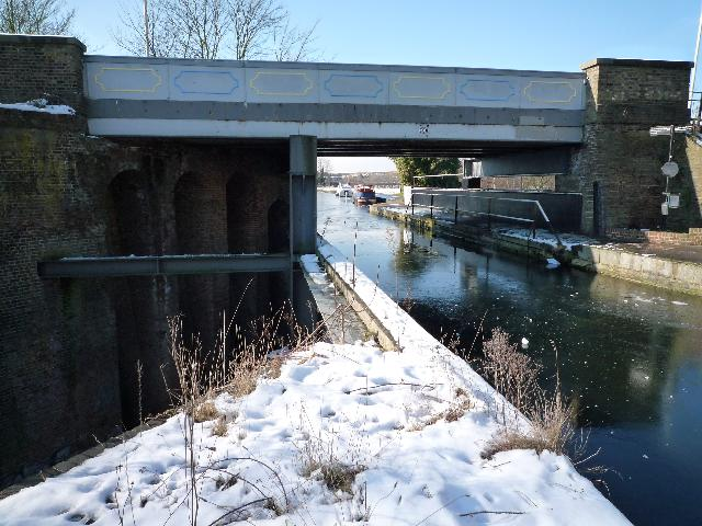 The Three Bridges with a frozen canal