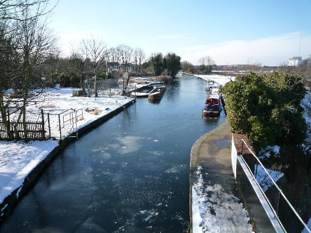 A frozen Grand Union Canal - view from The Three Bridges - looking westward