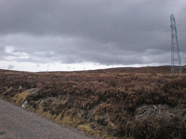 Pylons Crossing Carn Eitidh Moorland from Farr Windfarm