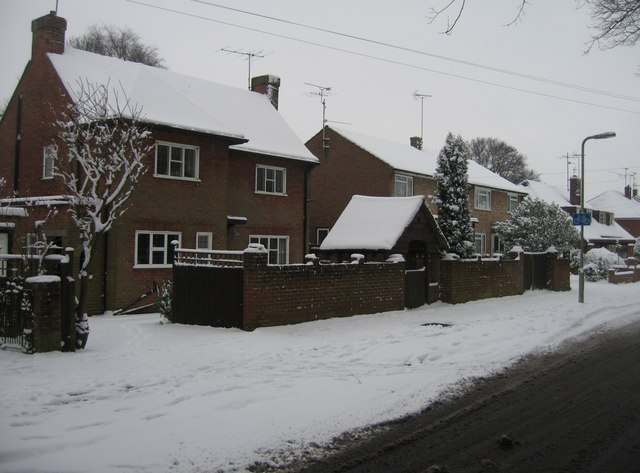 Darlington Road homes in the snow