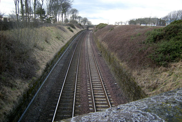 View of Aberdeen / Dundee Railway in Arbroath, looking southwest