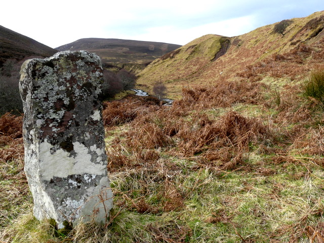 Standing stone and Sletdale Burn, Glen Loth