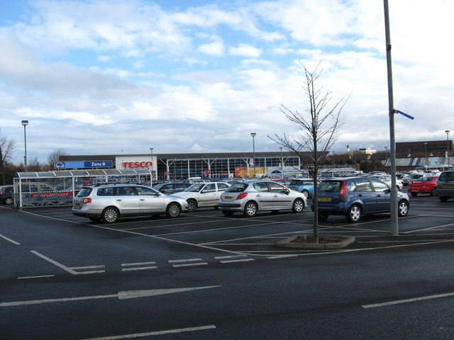 Car park at Tesco's Dalkeith superstore