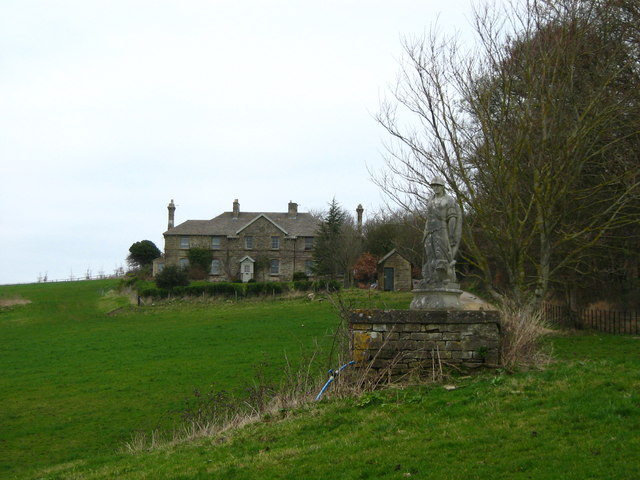 Statue and house
