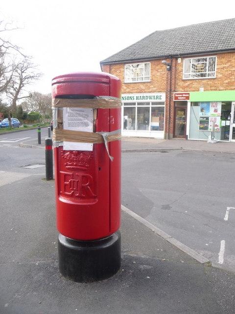Bransgore: broken postbox in Betsy Lane