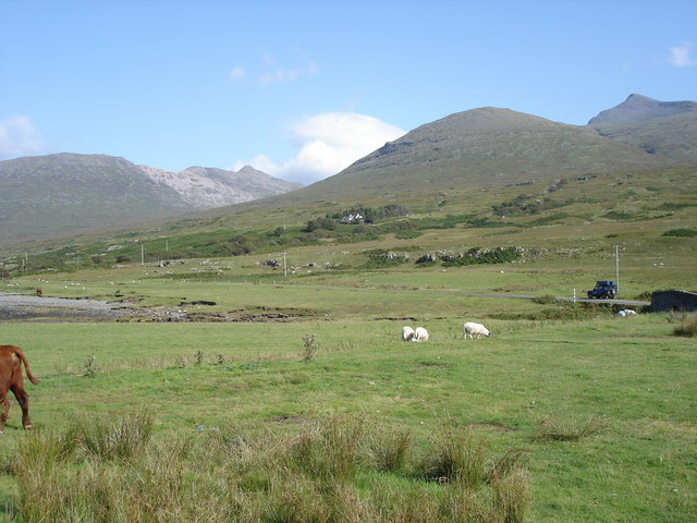 Ben More (right) from a point near the bridge over Abhainn Doire Dhubhaig