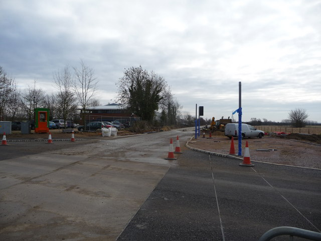Intersection of the guided busway and road