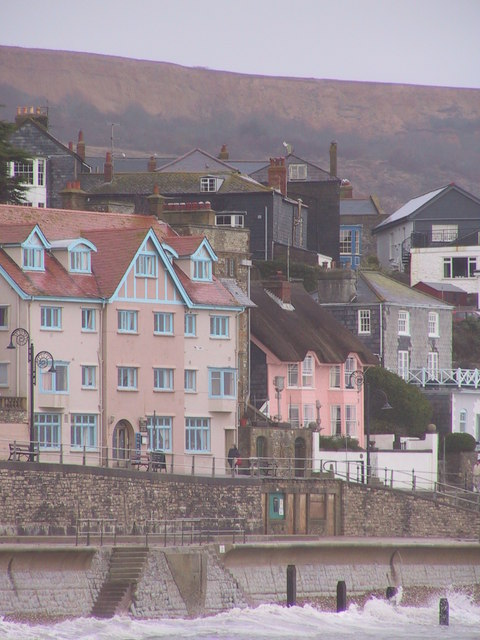 Pretty pink houses, Lyme Regis
