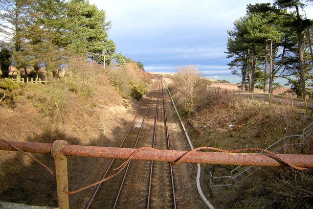 View of Dundee / Aberdeen Railway looking northeast