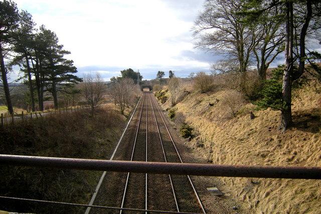 View of Aberdeen / Dundee  Railway near Lunan, looking southwest