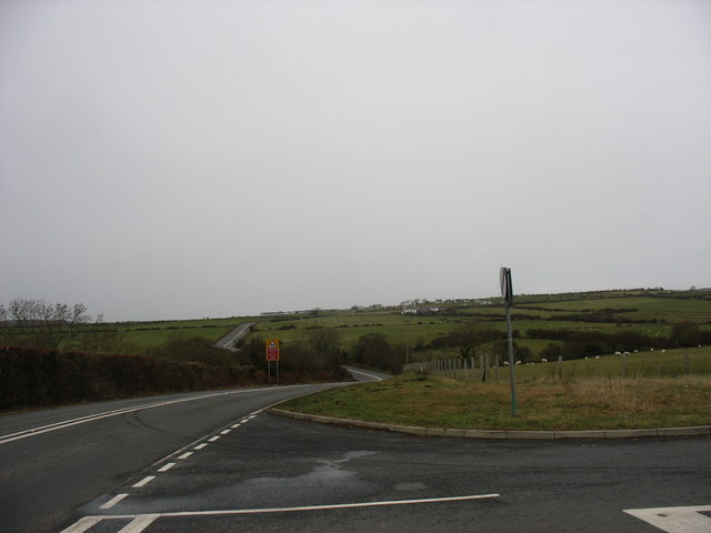 The junction of the Cochwillan road with the A5025