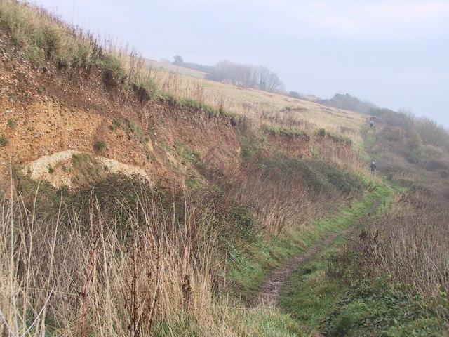 Landslide scar above the coastal path, Haven Cliff