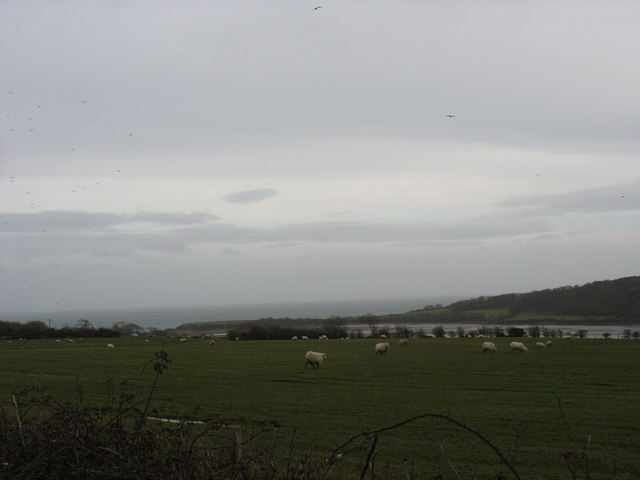 View south-eastwards across sheep pastures towards the Traeth Dulas estuary