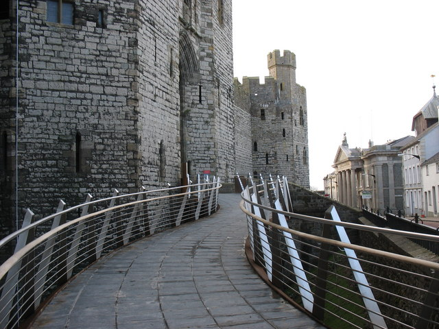 On the new Caernarfon Castle disabled entrance walkway