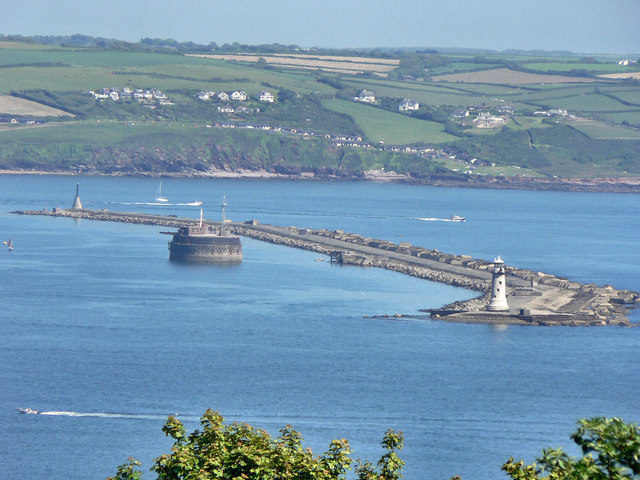 Plymouth Breakwater with Bovisand Bay.