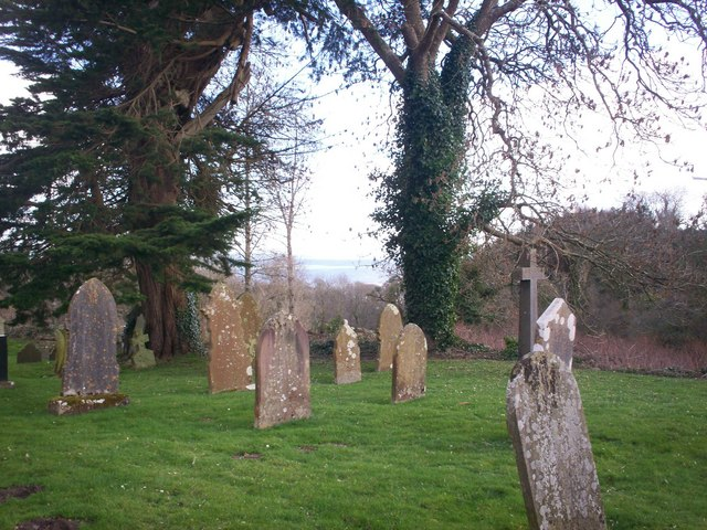 Amroth Churchyard - looking through trees to the sea